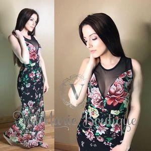Floral mesh maxi dress